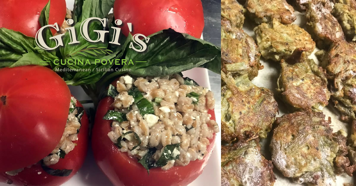 Farro & feta stuffed tomatoes, fried cardoons