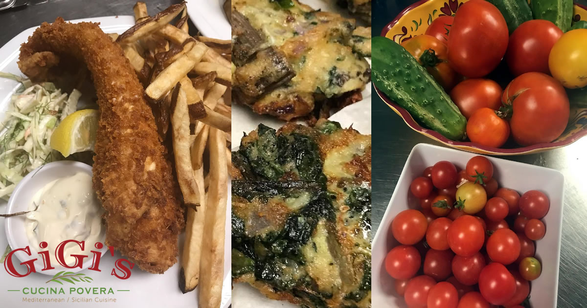 Photo: collage of fish fry, Swiss chard cakes, and garden bounty (tomatoes, cucumbers)