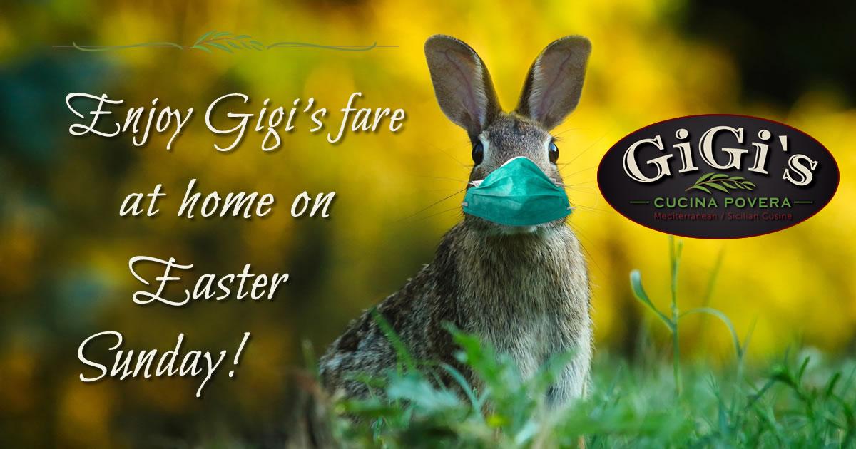 Photo: masked rabbit. Caption: Enjoy Gigi's fare at home on Easter Sunday!
