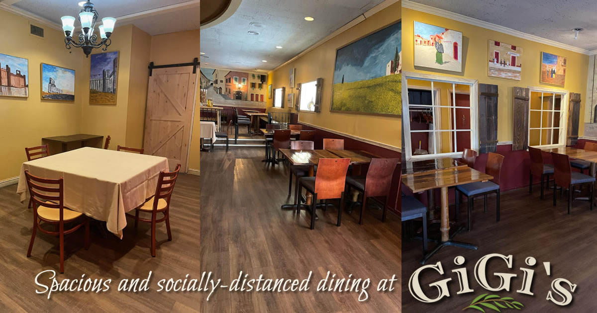 Dining room photos - spacious and socially distanced dining at Gigi's!