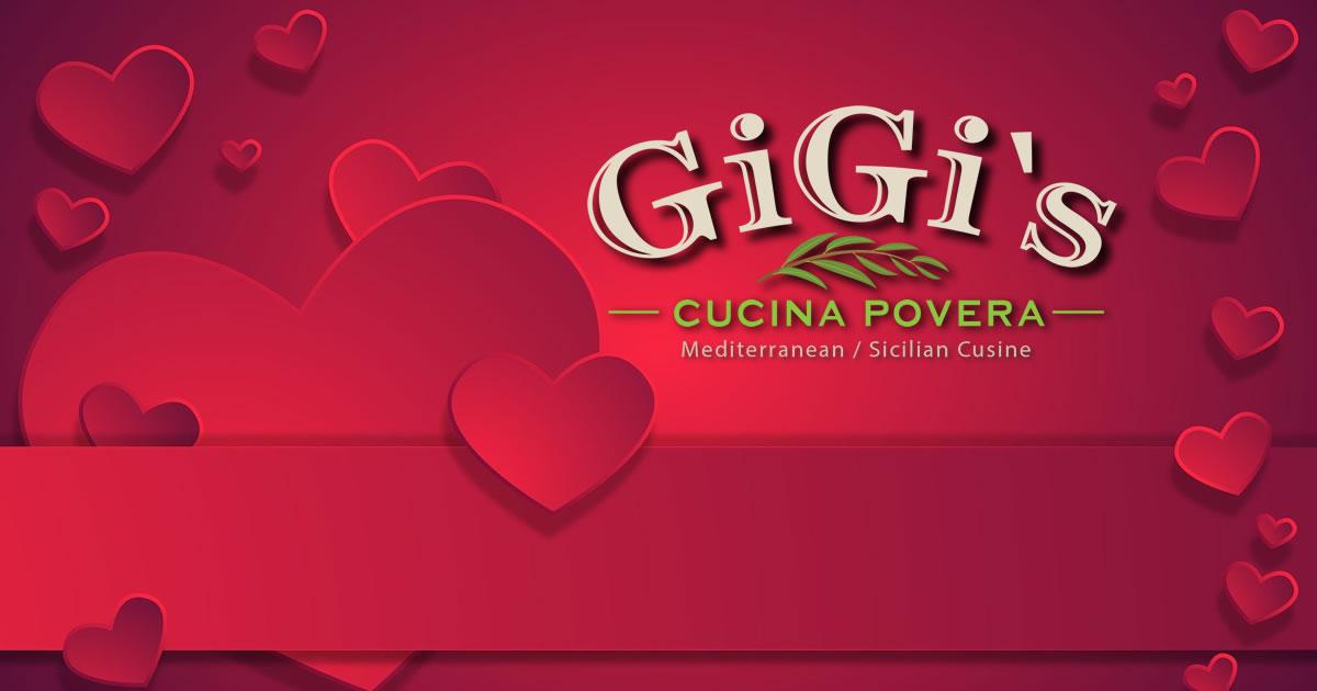 Gigi's Cucina Poveral Valentine's Day header graphic