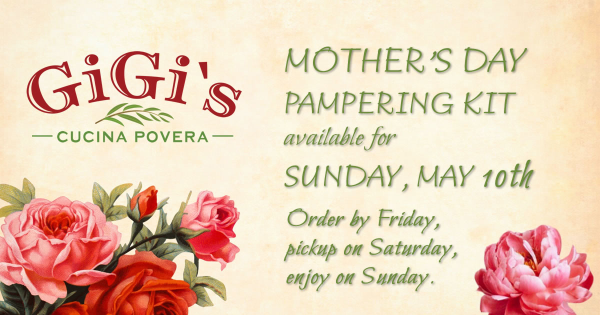 Mother's Day Pampering Kits are available for Sunday, May 10th