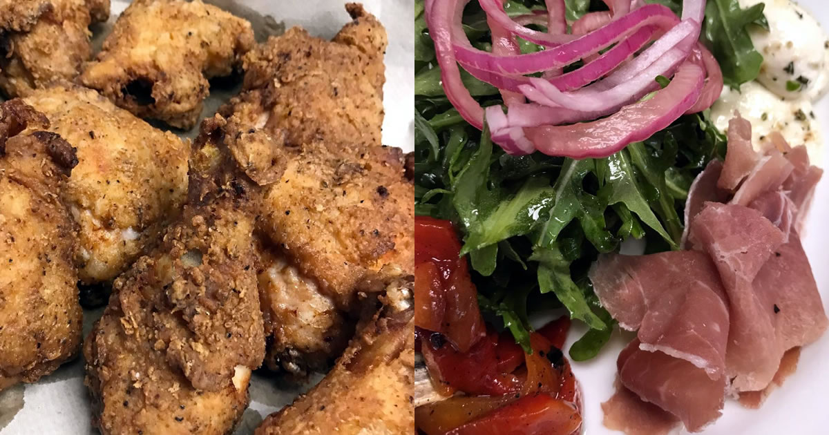 Fried Chicken and Roasted Red Pepper Salad